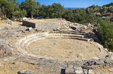Ancient theater at the temple of Great Gods at Samothraki