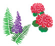 Set of Flower Vectors with Fern - can be used for stencilling