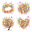 Holiday style - tree, frame, bouquet, heart for your design
