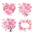 Summer style - tree, frame, bouquet, heart for your design