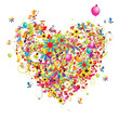 Happy holiday, funny heart shape with ballons