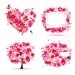 Summer style pink - tree, frame, bouquet, heart for your design
