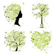 Spring style - tree, frame, female head, heart for your design