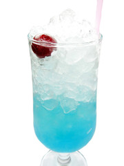 alcoholic blue curacao liqueur cocktail with cherry