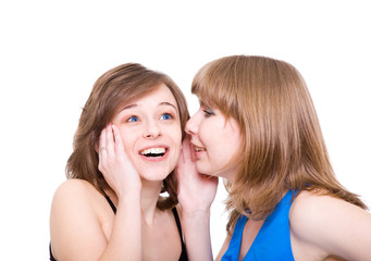 Two girlfriends talk. Close up. White background. It is isolated