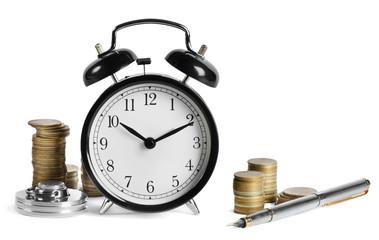alarm clock and money isolated