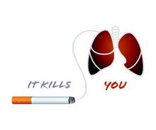 Papierosów i płuca palacza koncepcja antynikotynowa