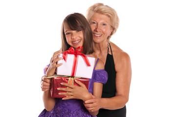 amour entre une grand-mère et sa petite fille - noël