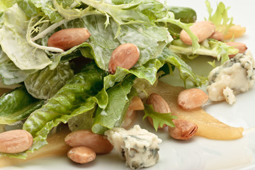 Roquefort cheese salad decorated on a white background