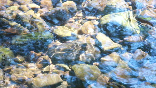 Close up of water flowing over stones in a brookbed