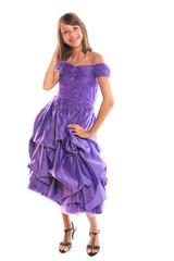 adolescente en robe de soirée violette