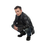 serious young man in leather jacket