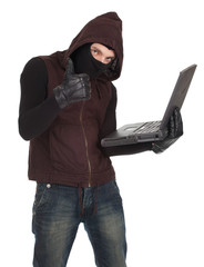 computer hacker - criminal with laptop, thumb up