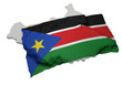 realistic ensign covering the shape of South Sudan