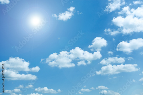 panoramic view of beautiful blue-sky and sparse white clouds