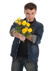 smoking drunk young man holding yellow roses