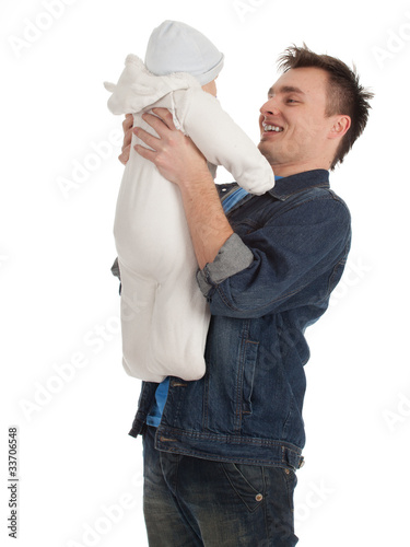 young father holding lovely seven months old son