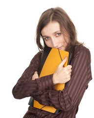 smiling student woman with coloured note pads