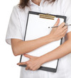 woman doctor in white uniform keeping clipboard