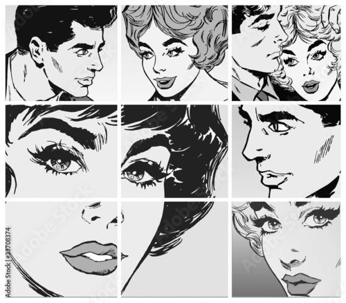 Coleccion de Ilustraciones, parejas de enamorados
