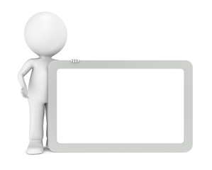 3d human character with a blank board. Steel Frame