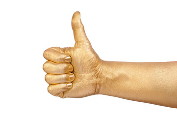 Man's golden hand shows sign OK