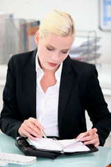 Businesswoman writing in a leather bound agenda