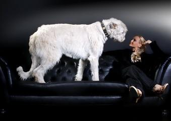 junge Frau & Irish Wolfhound auf Ledersofa