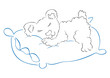 Illustration of sweet bear sleeping on pillow