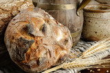 Freshly baked traditional bread in farmhouse setting