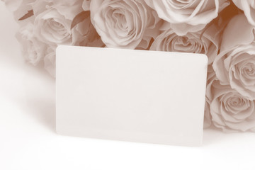 Sepia Roses with blank message card