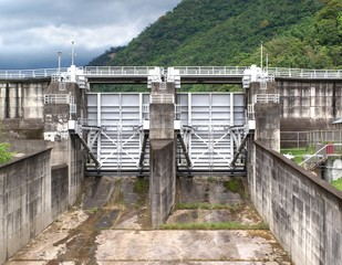 Large Sluice Gates at a Reservoir