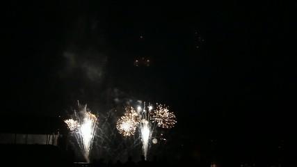 Feuerwerk mit sehr schönem weißen Glitzereffekt und Endknall