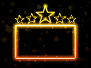 Star Neon Movie Sign With Copyspace