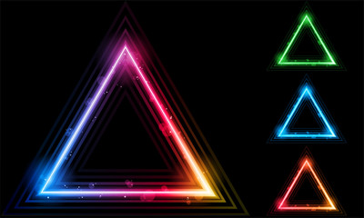 Set of  Neon Laser Triangle Border