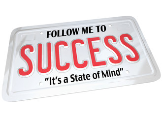 Success Word on License Plate Follow to Successful Future