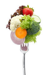 lots of vegetables on fork