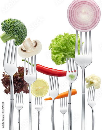 vegetables on forks