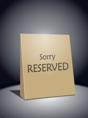 Sorry reserved sign