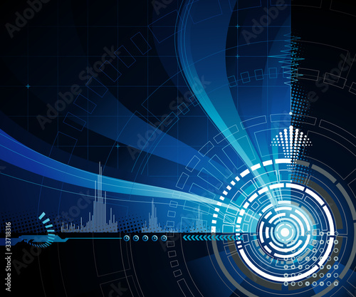 Technology abstract background in dark blue.