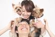 小犬とカップル