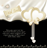 vector holiday background with black silk, two hearts and pearls