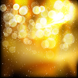 Fototapety Golden festive lights background.