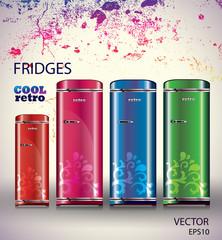 Cool retro fridge/Vector background