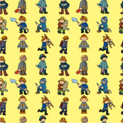 cartoon Fireman seamless pattern.