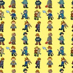 cartoon Fireman seamless pattern.