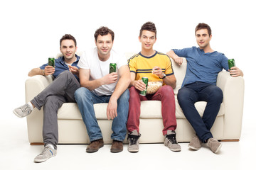 young men drinking beer eating popcorn