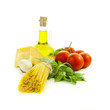 Ingredients for Italian cooking: basil, tomato, parmesan, garlic