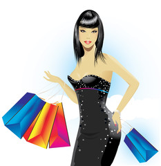 Woman holding shopping bags.Vector illustration
