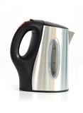 Stainless steel electrical kettle on white background.